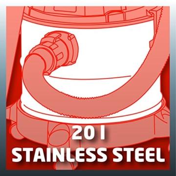 Einhell Nass Trockensauger TH-VC 1820 S (1250 W, 180 mbar, 20 l, Edelstahlbehälter, 1,5 m Saugschlauch, umfangreiches Zubehör) -