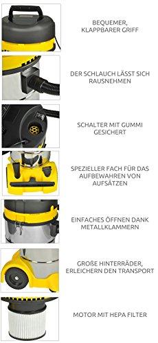 Industriestaubsauger Nass Trocken 40L Edelstahl 1400W + Düsen Staubsauger #2301 -