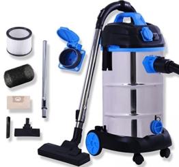 Masko® Industriestaubsauger Staubsauger Nass Trocken Sauger Edelstahl max. 1800W, Farbe:Blau -